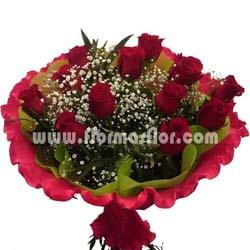 Ramo compuesto de 12 rosas ecuatorianas extras de color rojo. El tamaño de las rosas es de 60 a 70 cm y la dimensión del capullo es de apropiadamente 4x6 cm. El ramo esta acompañado de gipsofila, helecho o eucaliptus.