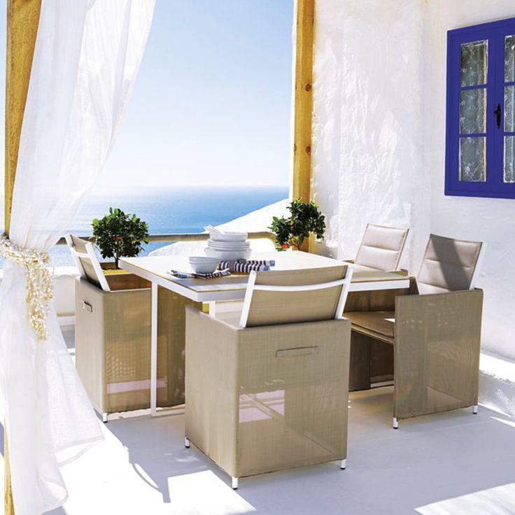 Set de jardín con mesa cuadrada El Corte Inglés Madison: 1 mesa + 4 sillones 579€ #VidaAlAireLibre #deco #jardín #terraza