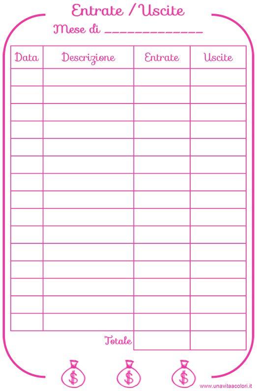 Registra le entrate ed uscite sull'agenda con il pdf stampabile in formato a5. Potrai segnarti tutte le spese per averle sempre sotto controllo.