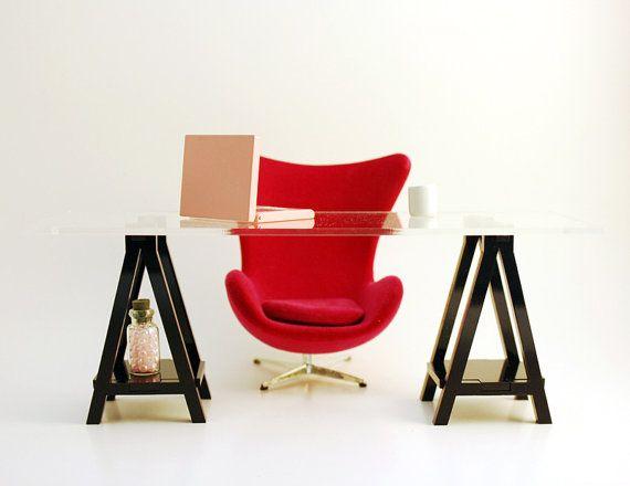 Miniature IKEA Inspired VIKA Desk for 1:12 Scale Modern Dollhouse in Black Acrylic