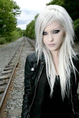 white alternative hair girl scene punk goth...looks like Avril Lavigne but isn't
