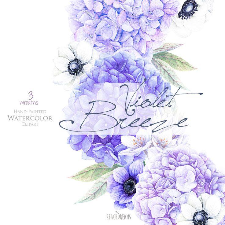 Matrimonio acquerello fiori anemoni Hydrangea di ReachDreams