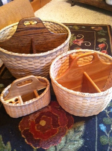 Searsport Rug Hooking. Love these divided baskets, especially the one with a spot for hooks.