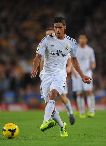 Raphael Varane of Real Madrid CF in action during the La Liga match between FC Barcelona and Real Madrid CF at Camp Nou stadium on October 26, 2013 in Barcelona, Catalonia.