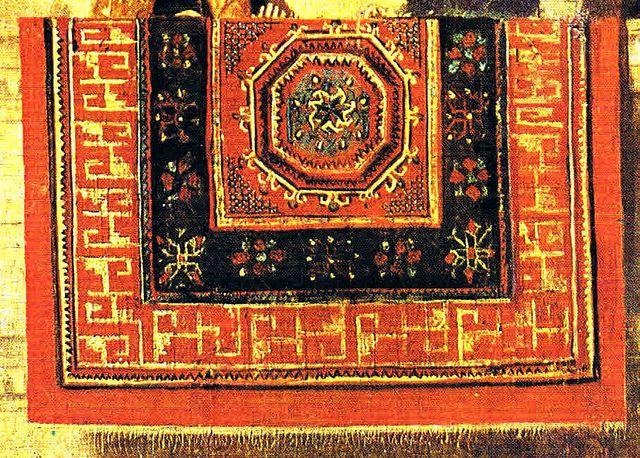 Carpet detail from: Antonello da Messina, Martyrdom of St. Sebastian, ca. 1478-79