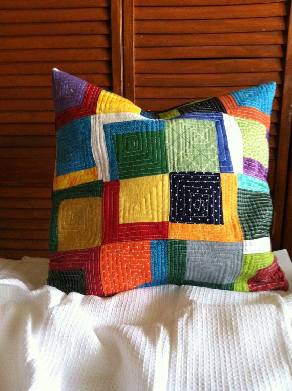 Quilted Pillow Improv Color Blocks  by RainStudio on Etsy, Custom Order your choice of colors!