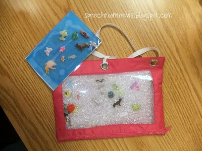 Eye spy bags (could also use for phonemic awareness and description / word retrieval)