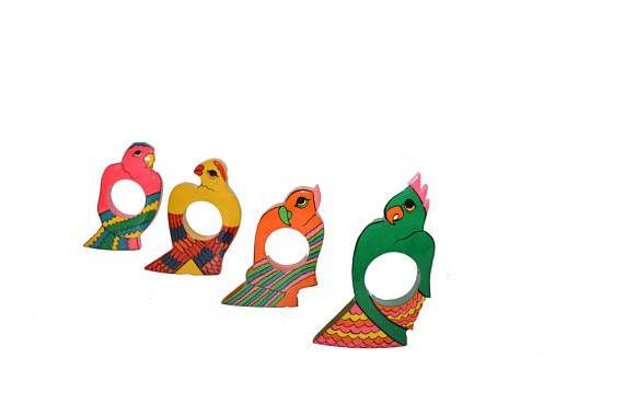 Vintage Parrot Napkin Rings Parrot Napkin Holders Pink Parrots Tropical Napkin Rings Palm Beach Decor