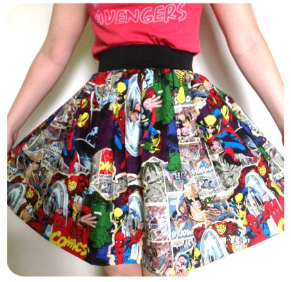 DIY: Super Hero Comic Skirt- I have so many friends who would love this. ;) I am now on the hunt for this fabric.