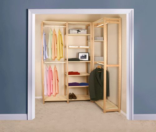 Small Closet Storage Solutions | Closet, home of easy to install, affordable wood closet organizers ...