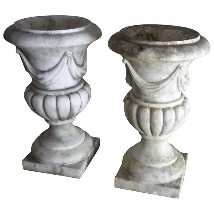 Neoclassical Revival Italian Marble Urns Garden Planters