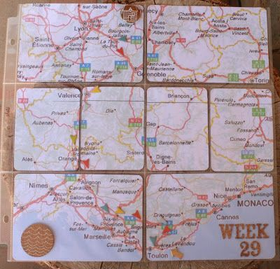Love this idea of printing a map of your road trip route to include in your Project Life scrapbook