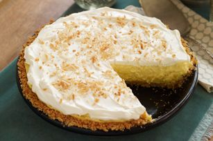 Coconut Cream Cheese Pie: so light, so fluffy, so delicious. You need this recipe.