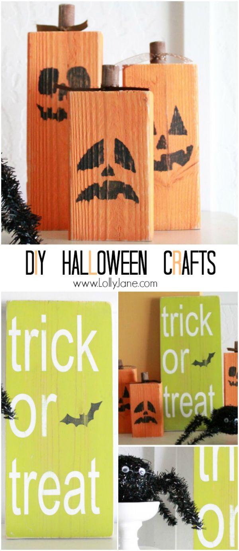 DIY: easy Halloween crafts: 2x4 jack o lanterns + trick or treat sign   lollyjane.com