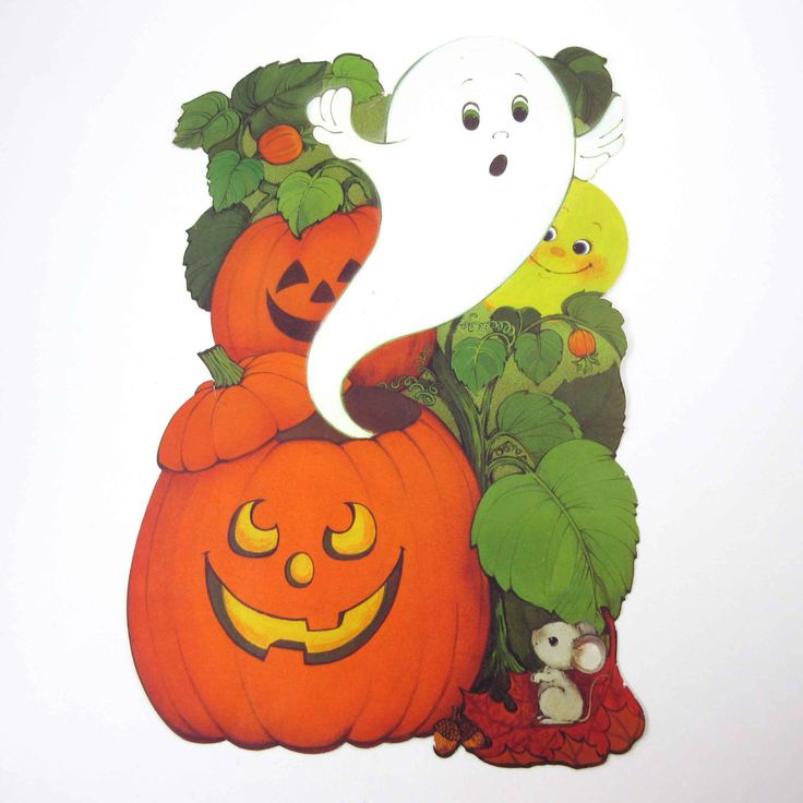 Vintage Halloween Die Cut Decoration with by grandmothersattic