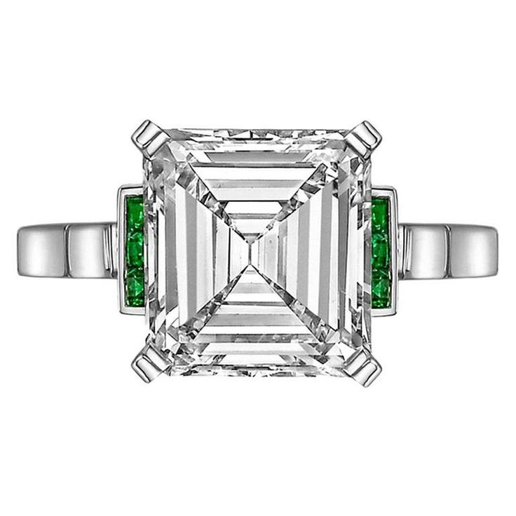 Betteridge 3.43 Carat Emerald-Cut Diamond Ring | From a unique collection of vintage three-stone rings at https://www.1stdibs.com/jewelry/rings/three-stone-rings/