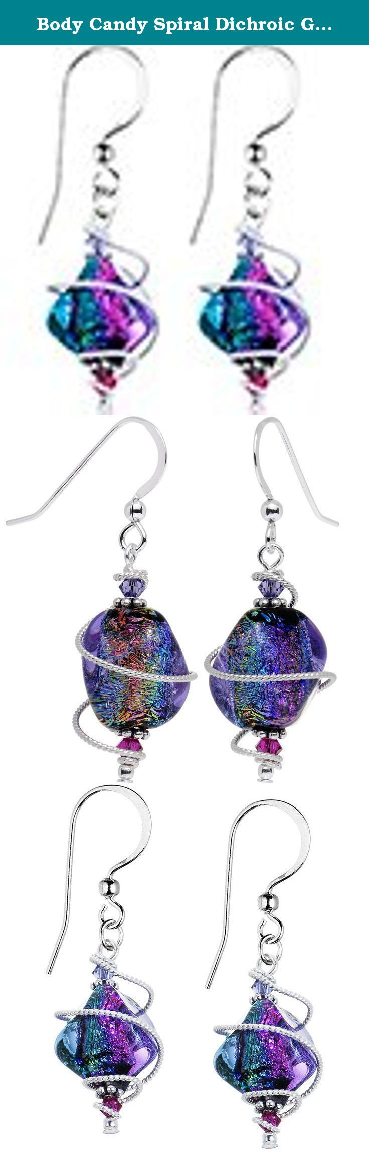 "Body Candy Spiral Dichroic Glass Dangle Earrings Created with Swarovski Crystals. Perk up any outfit with these swirl dichroic glass dangle earrings featuring a mesmerizing combination of elements and colors. Measuring in at 1.5"" in length, this pair fishhook earwire pierced earrings are sure to fascinate and enamor anyone you encounter with vibrant, sparkling hues of cool tones. These fashion earrings for women are hand assembled by our talented jewelry artisans in the USA. Each pair of..."