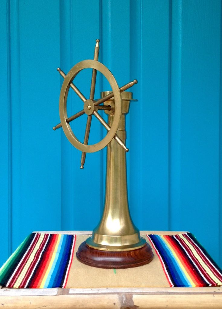 Vintage Brass Ship Wheel & Compass on Brass and Wood