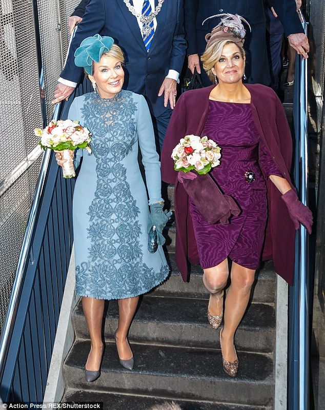 On Wednesday both Mathilde and Maxima opted for for jewel colours as they headed to Amster...