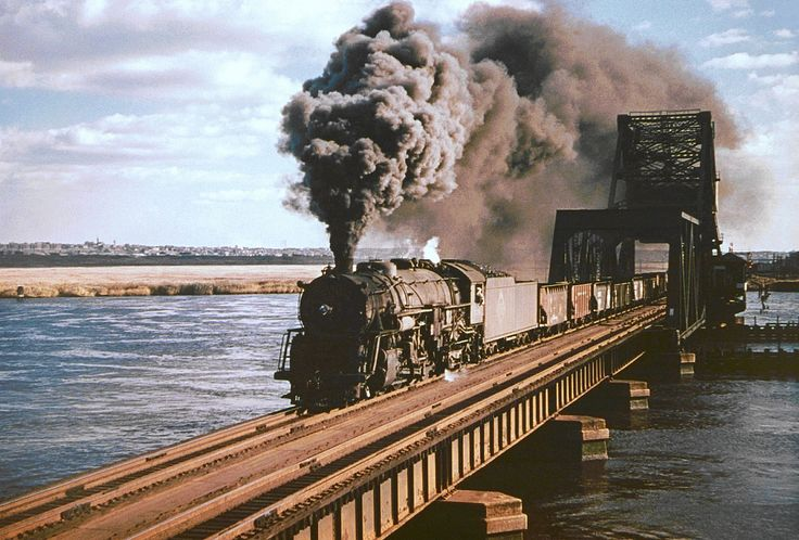 Erie Berkshire 2-8-4 steam locomotive # 3376, is seen hauling a freight train across a mainline railroad bridge in Hackensack, New Jersey, 10-23-1949 | Flickr - Photo Sharing!