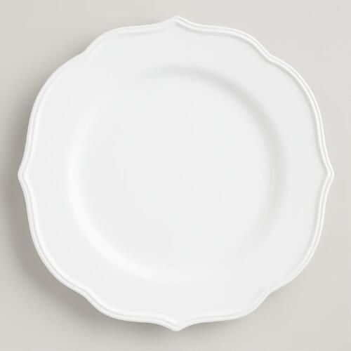 One of my favorite discoveries at WorldMarket.com: White Baroque Dinner Plates, Set of 4