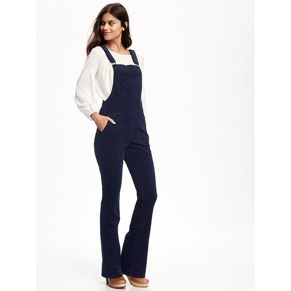 Old Navy Womens Flare Cord Overalls ($45) ❤ liked on Polyvore featuring jumpsuits, blue, overalls jumpsuit, old navy overalls, white bib overalls, old navy and blue jumpsuit