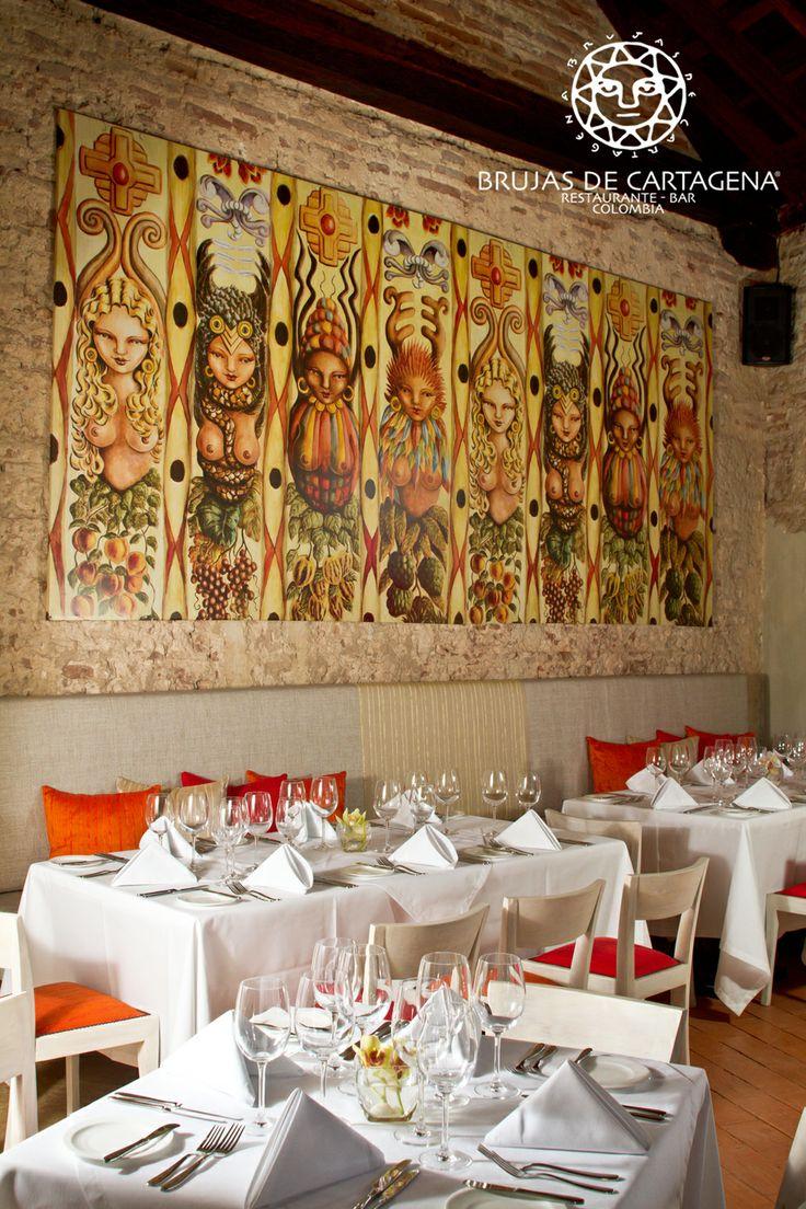 Salón principal Restaurante Brujas de Cartagena.   Cartagena - Colombia