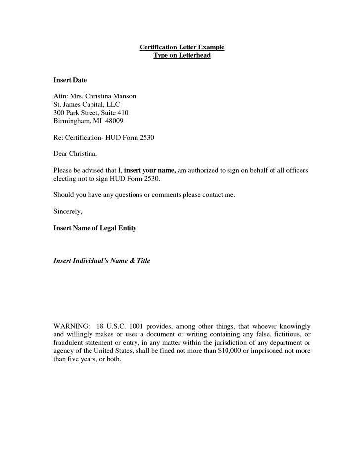 letter sample certification format free letters | Home Design Idea ...