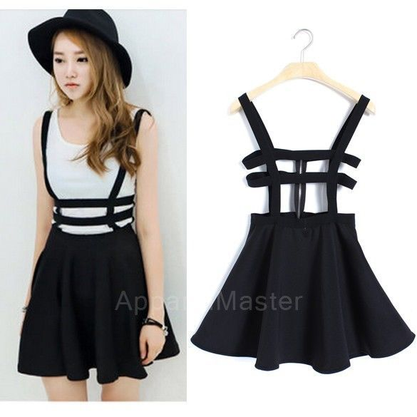 Korean Women's Girl Shirt Dress Hollow Out Strap Pleated Skirt Dress Am | eBay