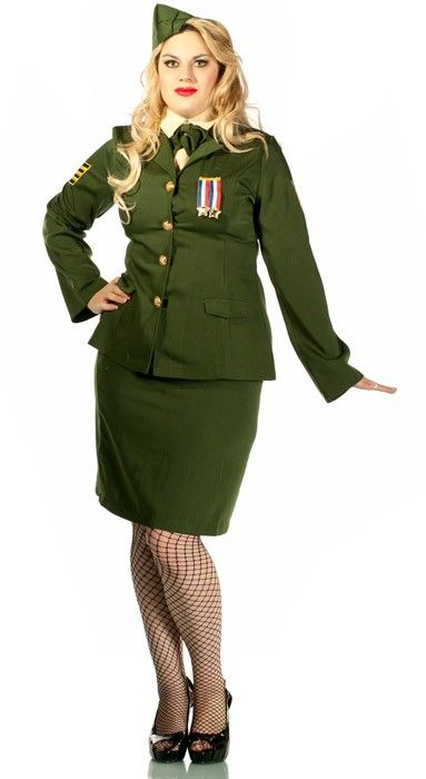 Sweet Sugar Candy Man! Sexy women's 1940's style army girl plus size fancy dress costume. This designer inspired larger women's party costume. This sexy and adorable women's costume includes jacket, skirt, neck scarf, dickey and hat. See below for full description and size details.