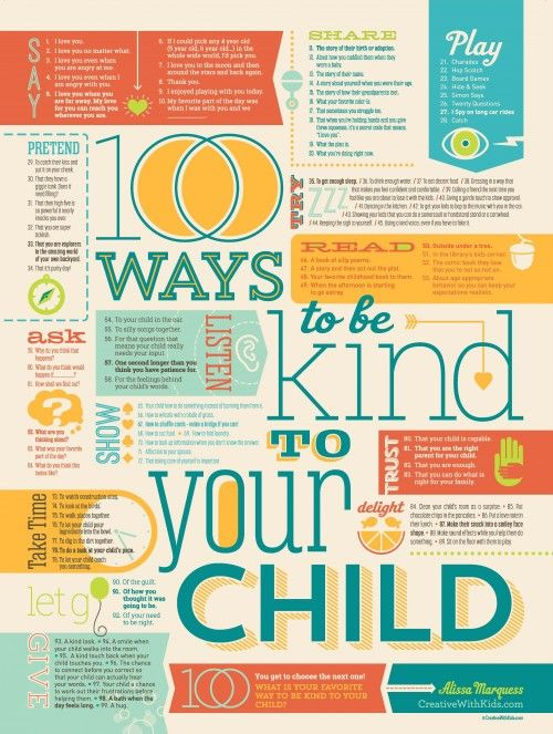 100 Ways to be Kind to Your Child - get this poster from Creative With Kids