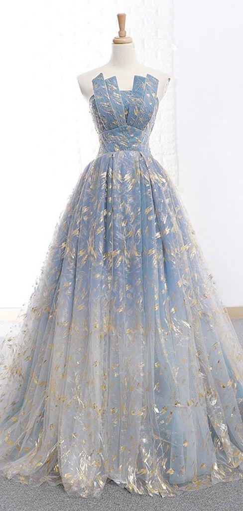 2018 Chic A-line Strapless Lace Prom Dresses Unique Long Prom Dress Evening Dresses AMY2189