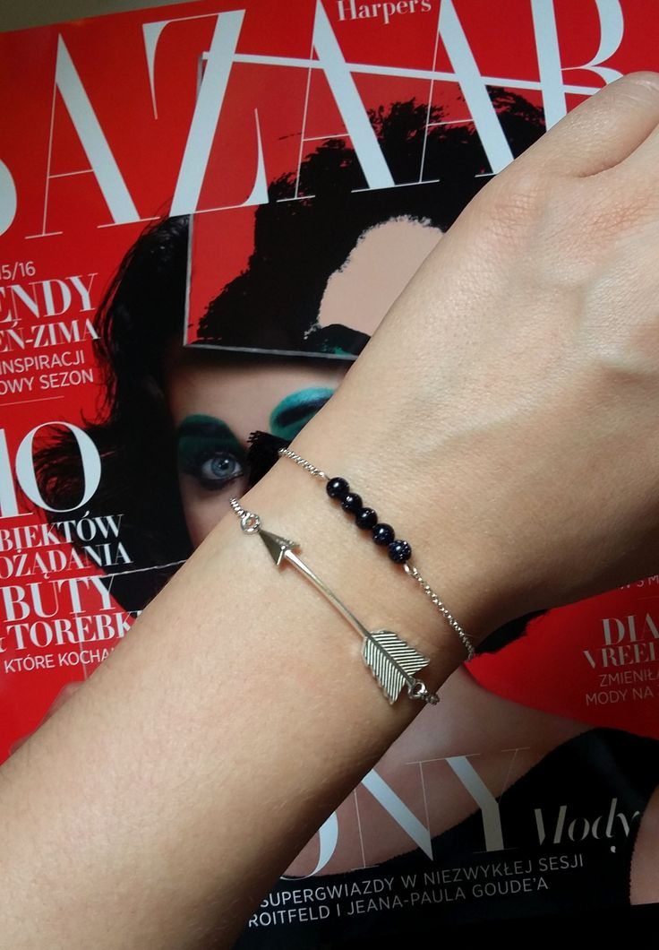 Silver arrow bracelet and black onyx bracelet by MOU