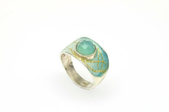 #Turquoise #Agate #Gemstone,Statement Ring, Sterling #SilverRing, Enamel Ring, Christmas Gift, Black Friday, Under 100, Giampouras Collections €87.90 EUR