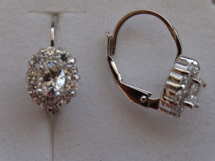 $23 Italian Sterling Silver Earrings with Cubic Zirconia Stone, info@bijuterie-online.ro.