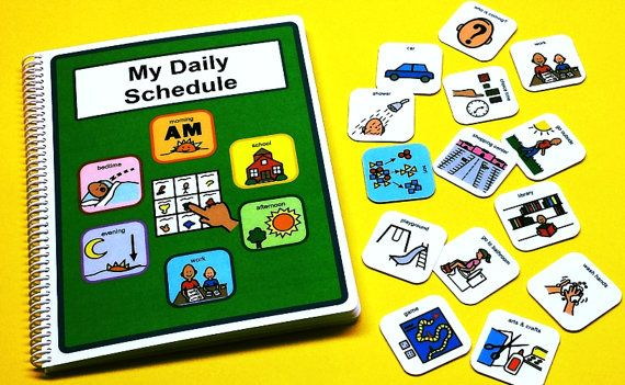My Daily Schedule - Fully Loaded - Autism Picture Schedule Book - NEW ITEM - Color coded PECS for ease of use