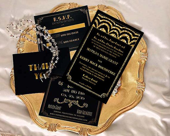 7 best invites images on pinterest invites art deco wedding and cards diy gold wedding invitation black gold with by cardsbysheilarider stopboris Image collections