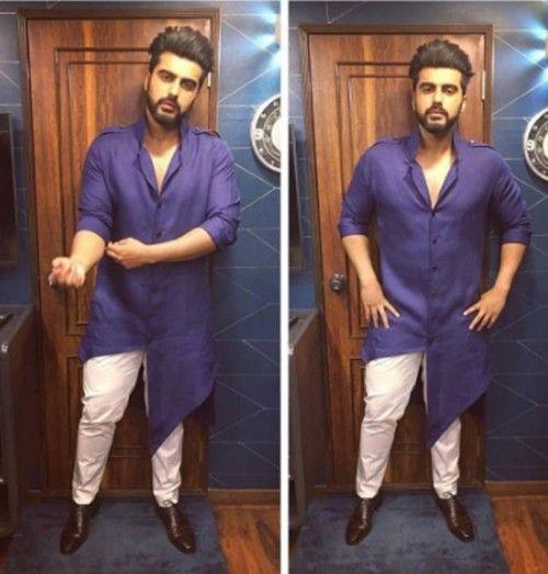 Yay or NAy? This purple asymmetrical kurta that Arjun Kapoor is wearing #MensFashionIndian