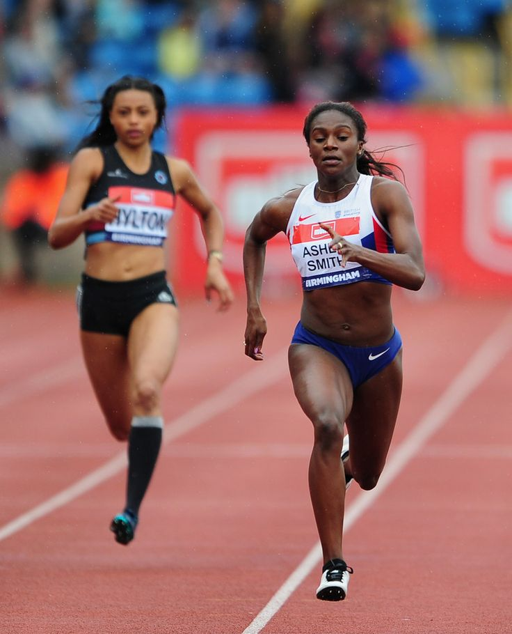 Dina Asher Smith of Great Britain (R) on her way to winning the Women's 200 Metres Final during Day Three of the British Championships at Birmingham Alexander Stadium on June 26, 2016 in Birmingham, England.