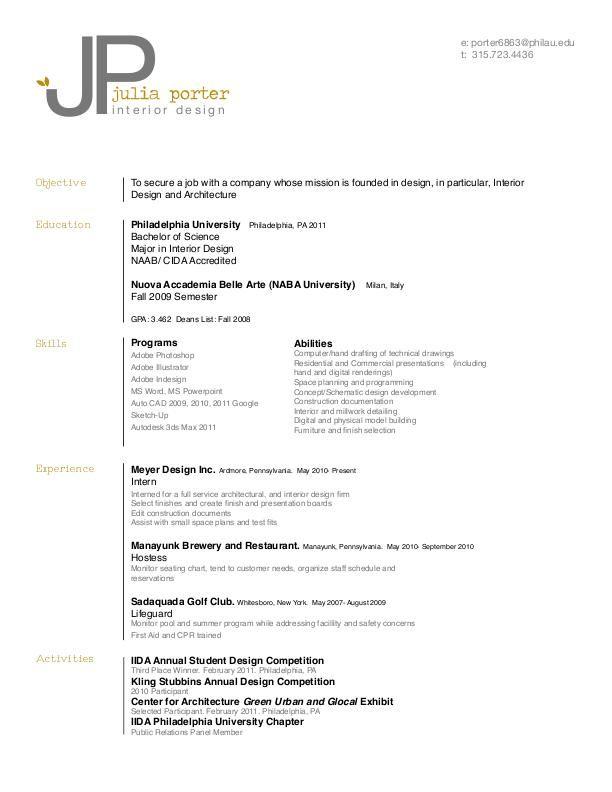 Resume By Julia Porter At Coroflot