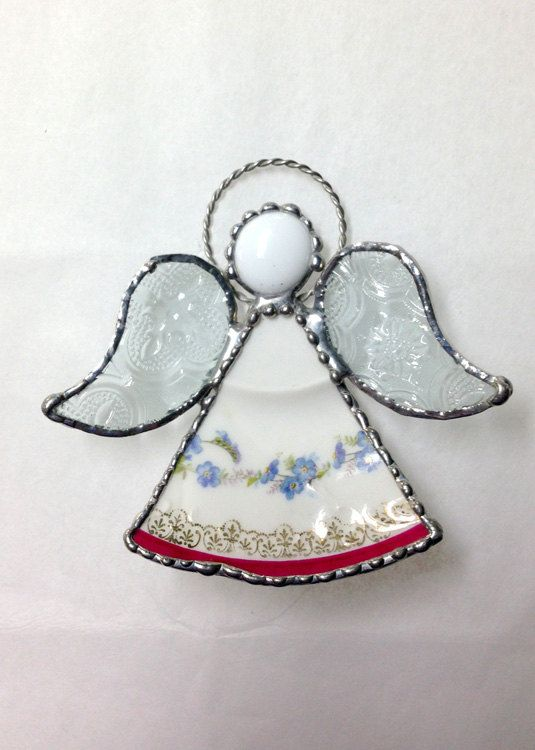 China and Stained Glass Angel by Whimzeeglass on Etsy