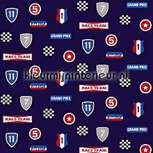 Race team navy blue gordijnstoffen Esta for Kids