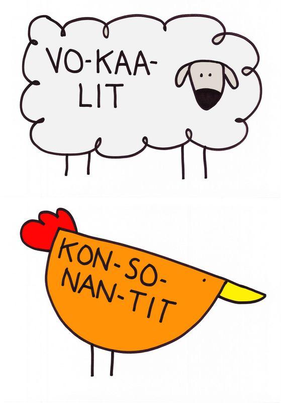 Otsikkolaput: vokaalit - konsonantit.