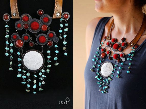 Cherry Love  necklace with turquoise copper  agate  by SztukKilka