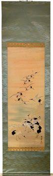 Lotto 00009 N.1 rotolo da parete kakejiku  Beppu Tanpu  STORMO DI GRU  Periodo: seconda metà del XX secolo Condizioni: ottime Dimensioni: 54 x 195 cm