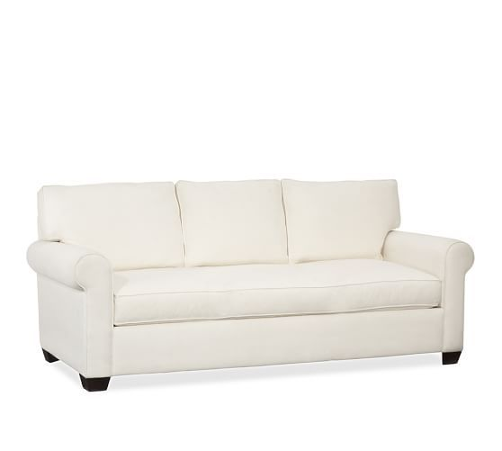 Buchanan Upholstered Grand Sofa, Polyester Wrapped Cushions, Brushed Canvas Stone - Pottery Barn: