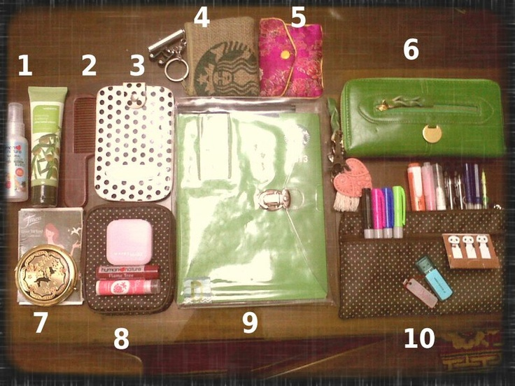 Whats in your bag      1spray sanitizer and hand cream      2comb      3phone pouch      4coin purse      5rosary pouch      6wallet      7oil control sheet and compact mirror      8makeup pouch, face powder and lipbalms      9starbucks planner and plastic envelope      10pens, sticky panda notes, usb and pouch