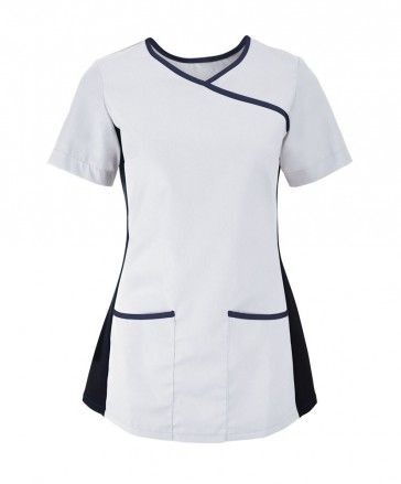 AX NF43 Women's stretch scrub top White/Navy