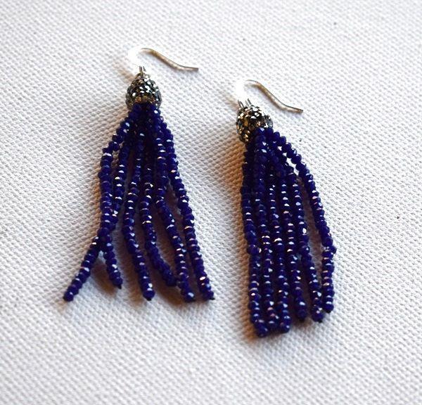 Beaded earrings.Hippie earrings.Boho earrings. Tassel earrings.Crystals earrings. by mariellascode on Etsy