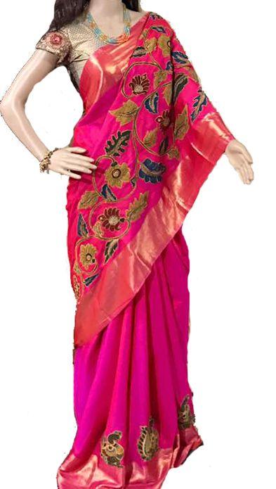 Pink Kalamkari Applique Work Pure Silk Saree